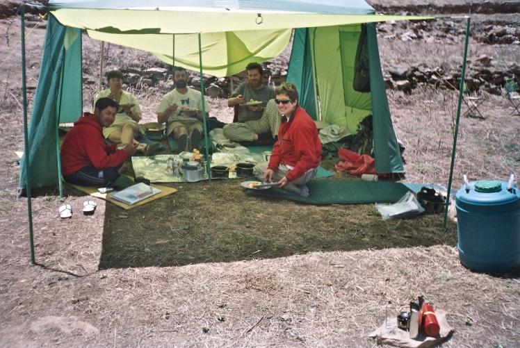 Breakfast at base camp (Raj, Chris, Colin, Titch, Angella)